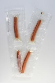 """04/34, """"Wurstkette"""", 99x14cm, vierteilig, Bockwurst, Wasser aus dem Tauchcontainer, Folie und Nieten"""