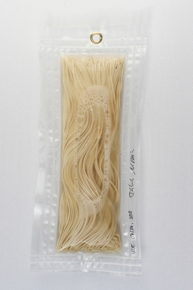 """07/34, """"Spaghetti"""",33x15cm, Spaghetti, Wasser aus dem Tauchcontainer, Folie und Nieten"""