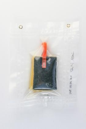 """09/34, """"Spülschwämmchen mit orangener Klammer"""", 24x19cm, Schwamm, Plastikklammer, Wasser aus dem Tauchcontainer, Folie und Nieten"""