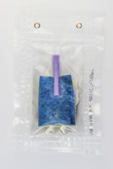 """11/34, """"Schwämmchen mit - 11/34, """"Spülschwämmchen mit lila Klammer"""", 23x15cm, Schwamm, Plastikklammer, Wasser aus dem Tauchcontainer, Folie und Nieten"""