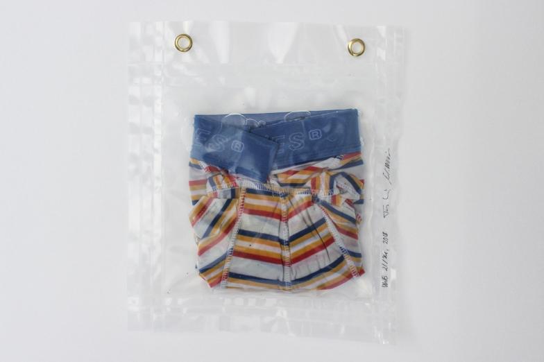 """21/34, """"Boxershorts gelb-blau-rot-weiß"""", 29x26cm, Baumwolle, Wasser aus dem Tauchcontainer, Folie und Nieten"""