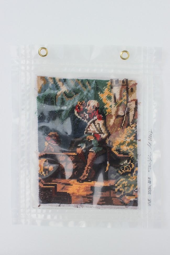 """30/34, """"Der Beobachter"""", 32x27cm, Baumwolle, Wasser aus dem Tauchcontainer, Folie und Nieten"""