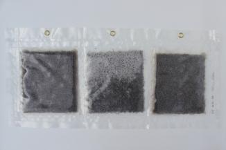 """34/34, """"Teppichboden-Triptychon"""", 33x70cm, Kunststoff, Baumwolle, Wasser aus dem Tauchcontainer, Folie und Nieten"""